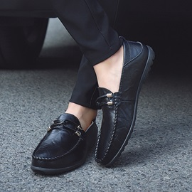 Plain Round Toe Low-Cut Upper Slip-On Men's Shoes