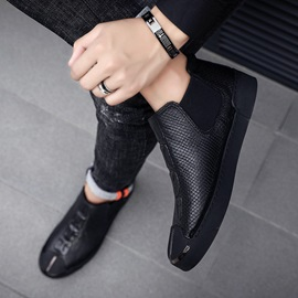 PU Round Toe High-Cut Uppper Men's Shoes