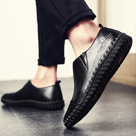 Slip-On Low-Cut Upper Letter Round Toe Men's Loafers