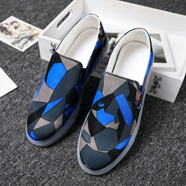 Color Block Flat Heel Slip-On Round Toe Men's Casual Shoes