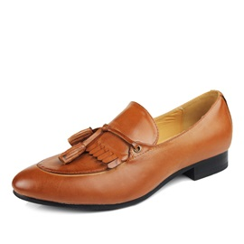 Tassels Decorated Closed-Toe Solid Color Loafers