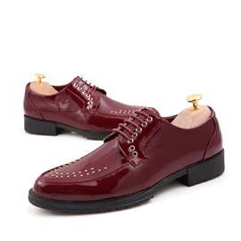 Rivets Pointed Toe Lace-Up Men's Shoes