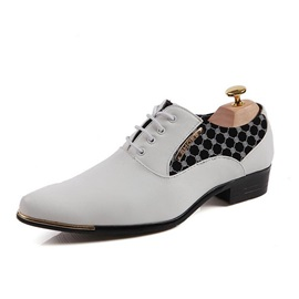 PU Patchwork Pointed Toe Lace-Up Men's Shoes