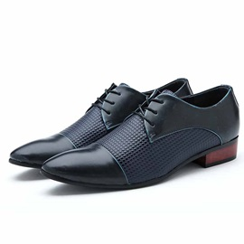 Embossed Square Heel Men' s Dress Shoes