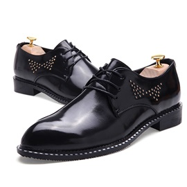 Studded Round Toe Lace-Up Dress Shoes