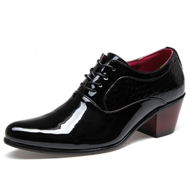 Pointed Toe Chunky Heel Men's Dress Shoes