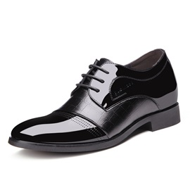 Embossed PU Round Toe Dress Shoes