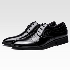 Embossed PU Square Heel Lace-Up Dress Shoes