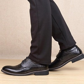 Gradient Color Embossed PU Lace-Up Dress Shoes