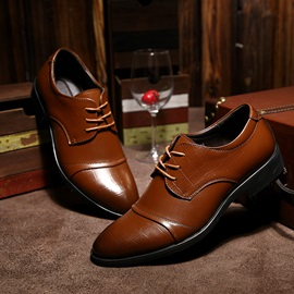 Embossed PU Lace-Up Front Dress Shoes