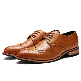 Embossed PU Wingtip Lace-Up Brogues