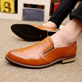 Breathable Round Toe Square Heel Dress Shoes