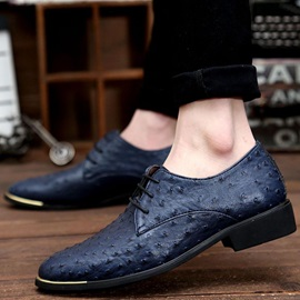Embossed PU Round Toe Lace-Up Dress Shoes