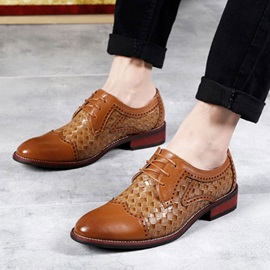 Embossed PU Wingtip Lace-Up Dress Shoes