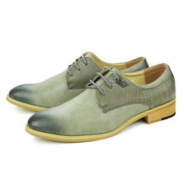 Embossed PU Plain Toe Lace-Up Dress Shoes