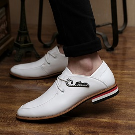 Striped Square Heel Lace-Up Dress Shoes
