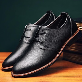 Solid Color Plain Toe Square Heel Dress Shoes