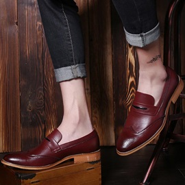 Solid Color Wingtip Square Heel Dress Shoes