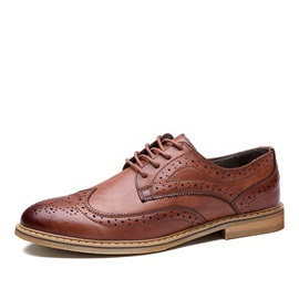 Retro PU Wingtip Lace-Up Dress Shoes