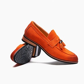 Suede Tassels Square Heel Men's Dress Shoes