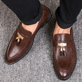 Elegant Tassels Square Heel Men's Dress Shoes