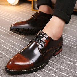 Contrast Toe PU Lace-Up Men's Dress Shoes