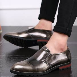 Patent Leather Slip-On Brush Men's Dress Shoes