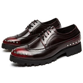 PU Brush Off Rivets Lace-Up Men's Shoes
