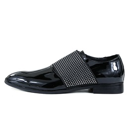 Faux Leather Rhinestone Square Toe Men's Shoes