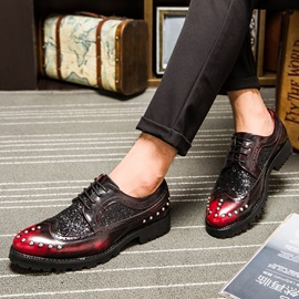 Sequin Round Toe Lace-Up Men's Dress Shoes