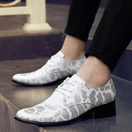 Sequin Pointed Toe Lace-Up Men's Shoes