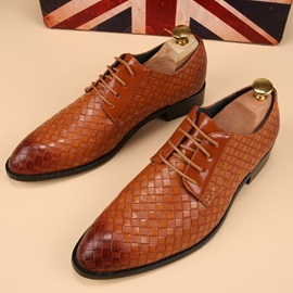 Plain Round Toe Lace-Up Men's Shoes