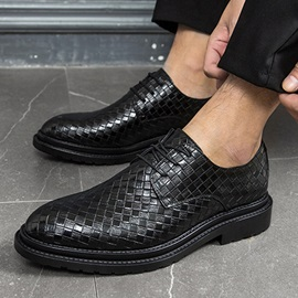 Plaid Pointed Toe Lace-Up Men