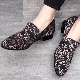 Pointed Toe Slip-On Floral Men's Dress Shoes
