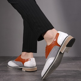 Color Block Low-Cut Upper PU Style Leather Shoes
