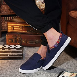 Round Toe Slip-On Men's Canvas Shoes