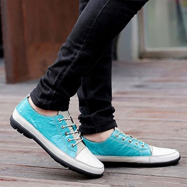 Color Block Pu Patchwork Lace-Up Men's Shoes