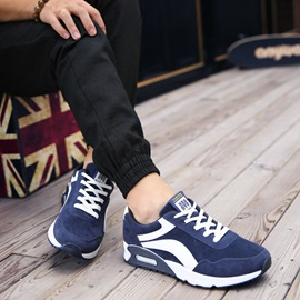 Breathable Color Block Lace-Up Men's Sneakers