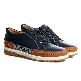 Color Block PU Lace-Up Men's Sneakers