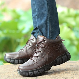 Thread Round Toe Lace-Up Men's Sneakers
