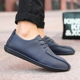 PU Thread Lace-Up Flat Casual Shoes