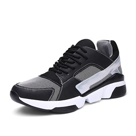 Breathable Round Toe Lace-Up Sneakers
