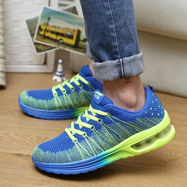 Breathable Mesh Color Block Lace-Up Sneakers