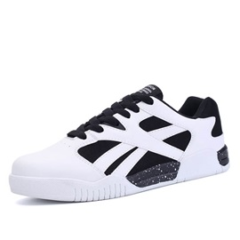 Breathable PU Patchwork Lace-Up Skater Shoes