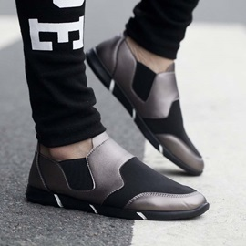 PU Patchwork Slip-On Round Toe Sneakers