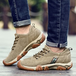 PU Lace-Up Hiking Shoes
