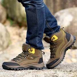 Contrast Color Suede Mid-Cut Hiking Boots