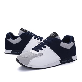 Lace-Up Color Block Flat Heel Men's Sneakers