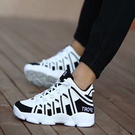Fashion Contrast Color Lace-Up Sport Shoes