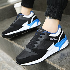 Fashion Contrast Color Lace-Up Sneakers